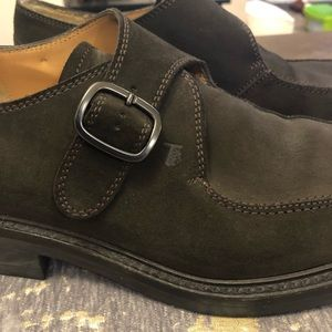 Tod's Shoes - Tod's Dark Green Suede Monk Strap Shoes